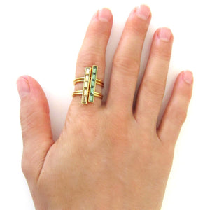 Double Shank Tiny Baguette Bar Ring with Swarovski Crystal