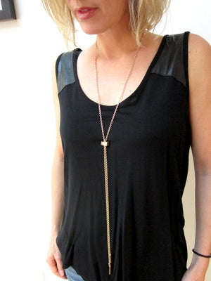 Denmark Collection Long Slider Necklace with Caps