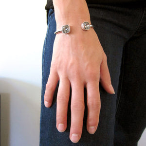 "The ""Frankie"" Swarovski Cushion Cut Heavy Wire Bracelet"
