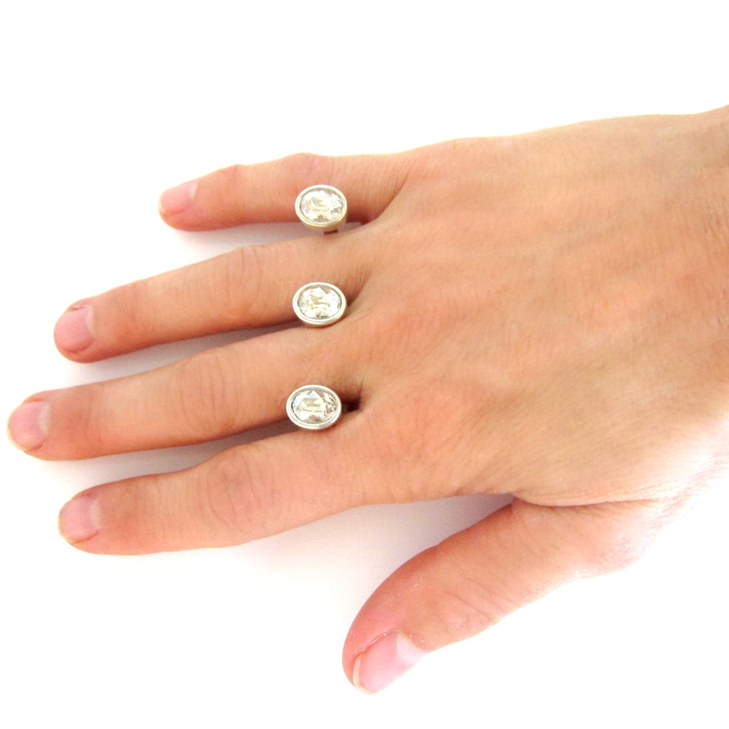 Swarovski Floating Double Finger Rings