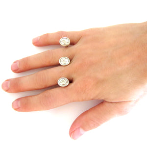 Sterling Silver Swarovski Floating Double Finger Rings