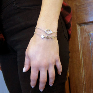 """Nina"" Slider Bracelet with Triple Diamonds"