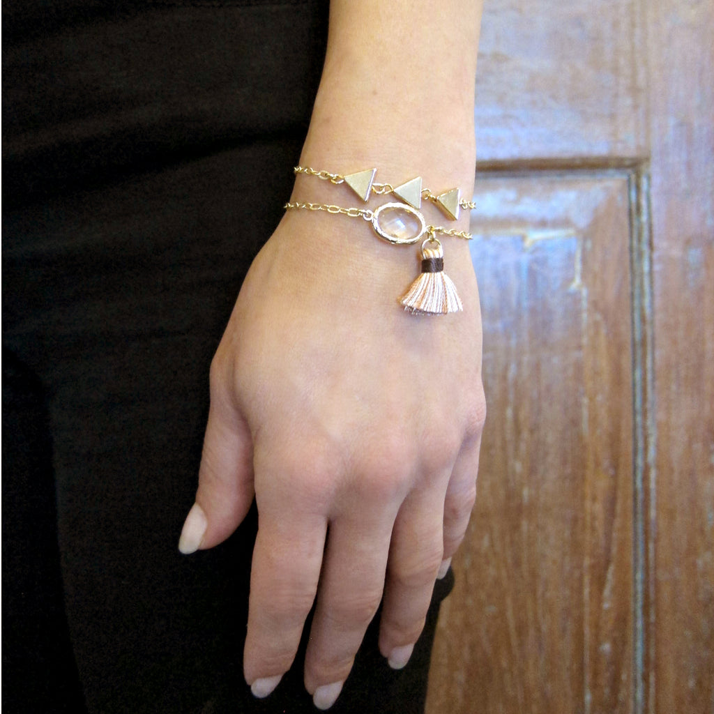 """Nina"" Slider Bracelet with Oval Crystal and Tassel"