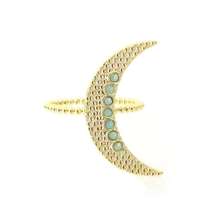 Crescent Moon Ring w/ Swarovski Crystals