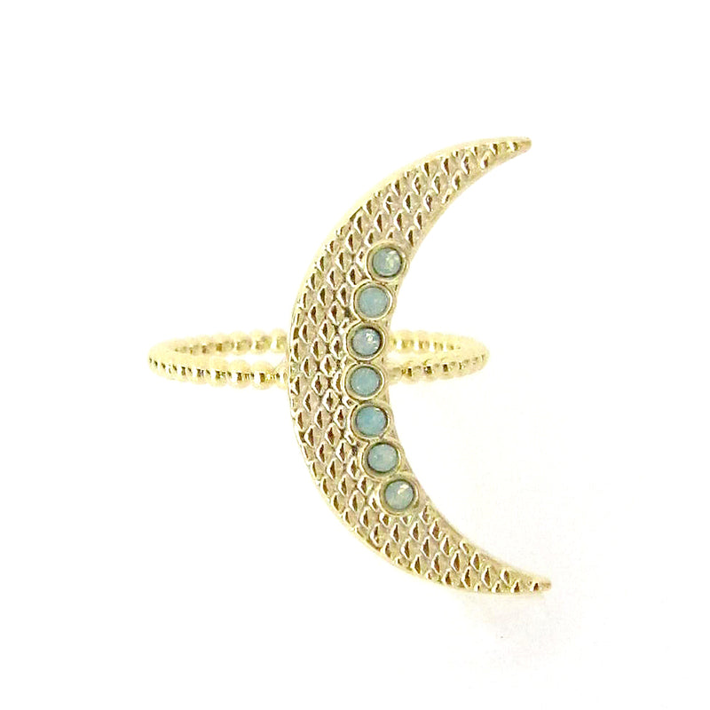 Celestial Crescent Moon Ring w/ Swarovski Crystals