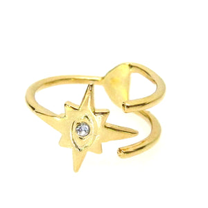 Celestial Evil Eye Star Ring with Swarovski Crystal