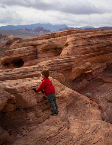 Child exploring Valley of Fire