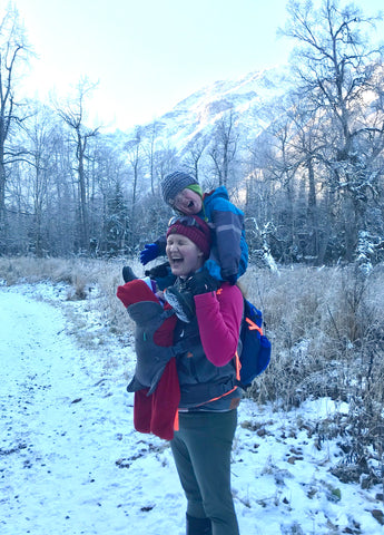 The author hiking with two children