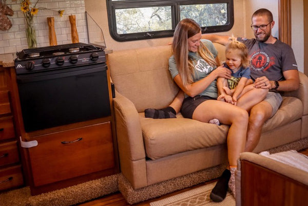 Inside RV while traveling with a toddler.