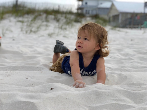Toddler Jack on the beach.