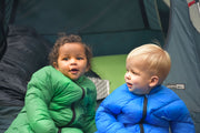 2 Happy Babies Camping in Tent with Little Mo Sleeping Bags - Morrison Outdoors