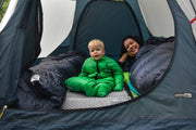 Happy Warm Baby in Tent with Little Mo 20 Sleeping Bag - Morrison Outdoors