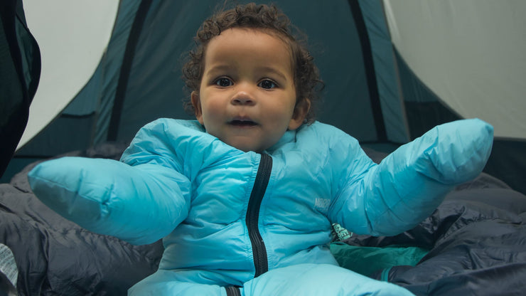 Warm Happy Baby in Sky Blue Little Mo Sleeping Bag - Morrison Outdoors