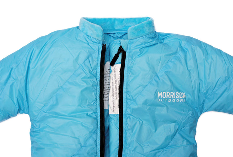 Little Mo 20° Down Baby Sleeping Bag Sky Blue Color Close-up View - Morrison Outdoors