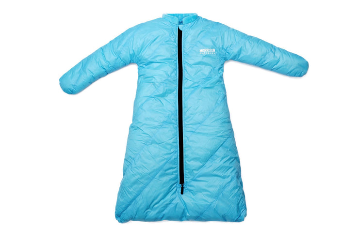 Little Mo 20° Down Baby Sleeping Bag Sky Blue Color Front View - Morrison Outdoors