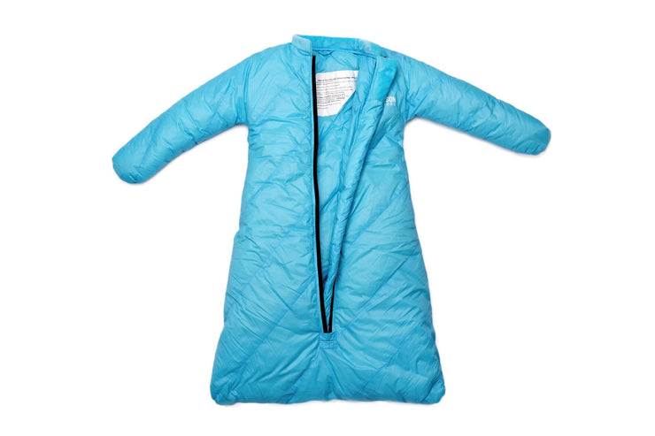 Little Mo 20° Down Baby Sleeping Bag Sky Blue Color Open View - Morrison Outdoors