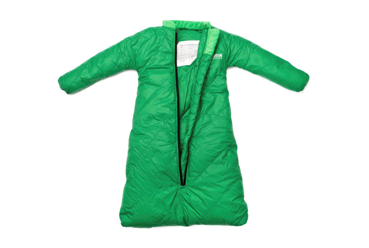 Little Mo 20° Down Baby Sleeping Bag Moss Green Color Open View - Morrison Outdoors
