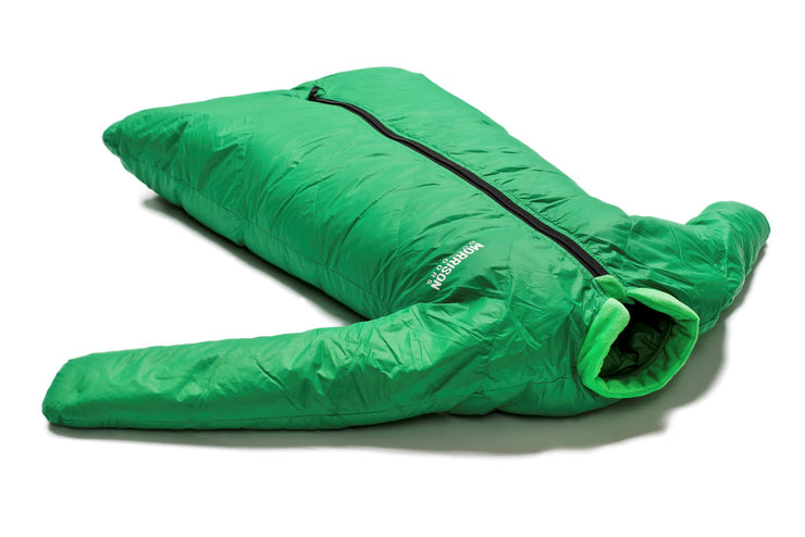 Little Mo 20° Down Baby Sleeping Bag Moss Green Color Side View - Morrison Outdoors