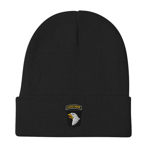 101st Airborne Division Embroidered Beanie - Black