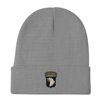 101st Airborne Division Embroidered Beanie - Gray