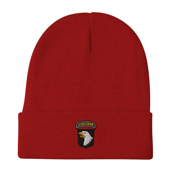 101st Airborne Division Embroidered Beanie - Red
