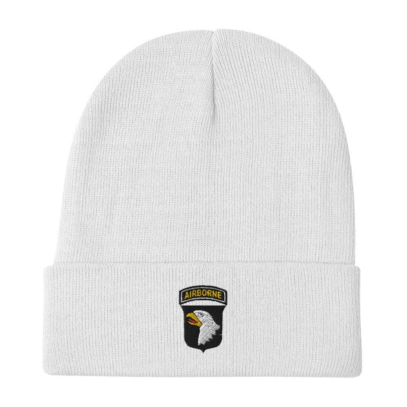 101st Airborne Division Embroidered Beanie - White