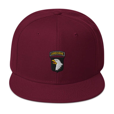 101st Airborne Division Embroidered Snapback Hat - Burgundy maroon