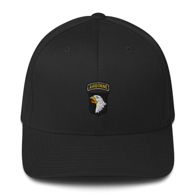 101st Airborne Division Embroidered Structured Twill Cap - Black / S/M