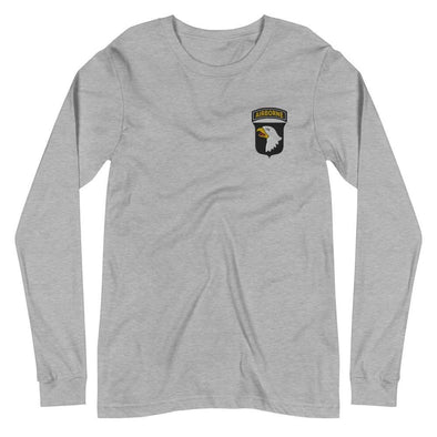 101st Airborne Division Embroidered Unisex Long Sleeve Tee - Athletic Heather / XS