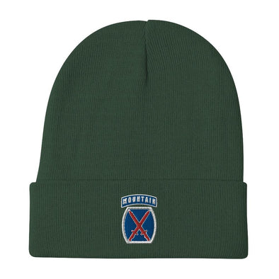 10th Mountain Division Embroidered Beanie - Dark green