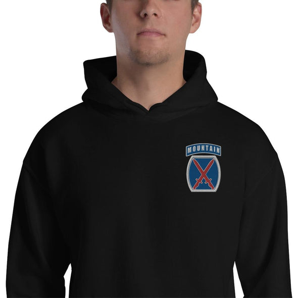 10th Mountain Division Embroidered Unisex Hoodie - Black / S