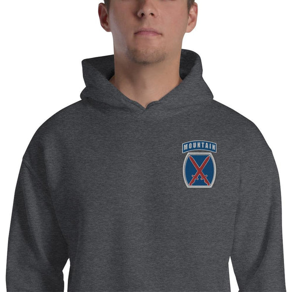 10th Mountain Division Embroidered Unisex Hoodie - Dark Heather / S