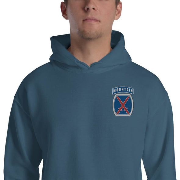 10th Mountain Division Embroidered Unisex Hoodie - Indigo Blue / S