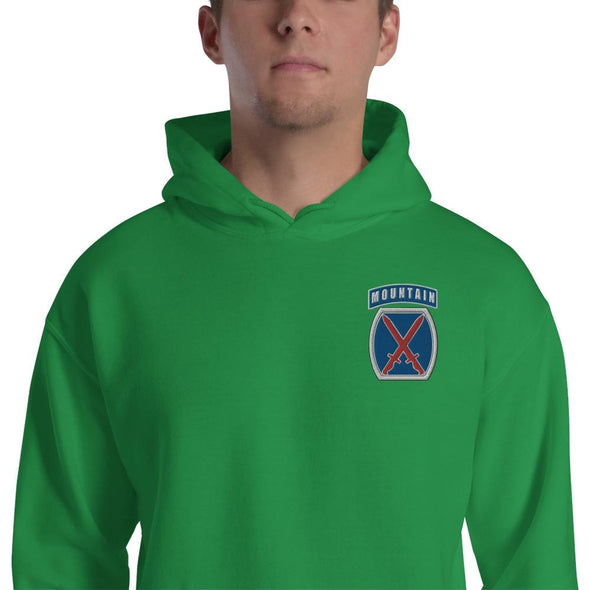 10th Mountain Division Embroidered Unisex Hoodie - Irish Green / S