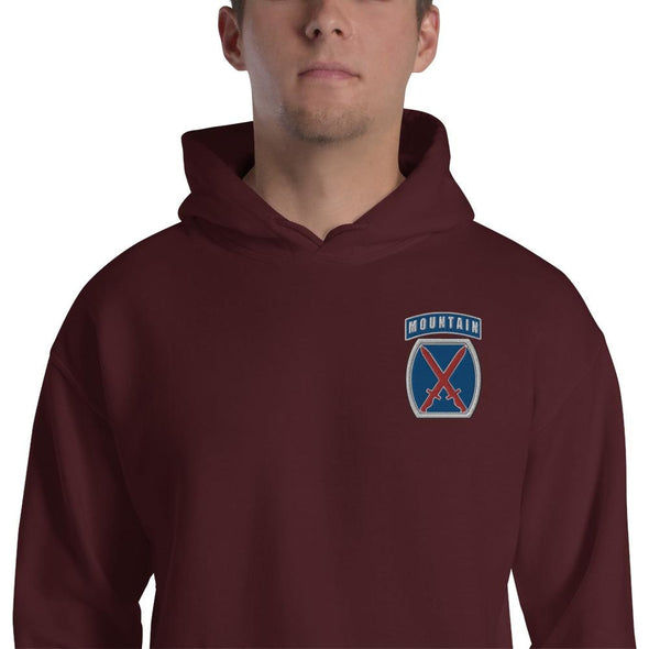 10th Mountain Division Embroidered Unisex Hoodie - Maroon / S