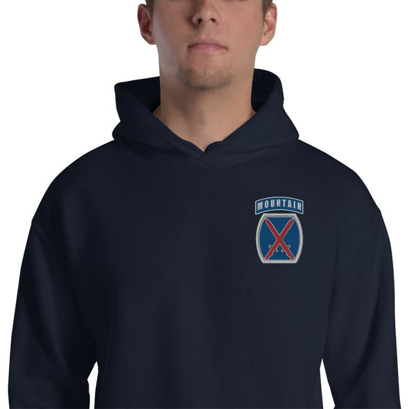 10th Mountain Division Embroidered Unisex Hoodie - Navy / S