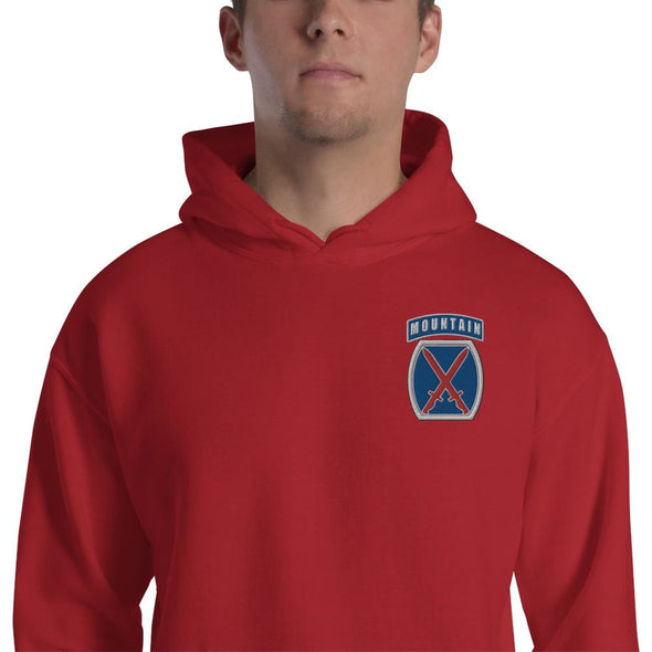10th Mountain Division Embroidered Unisex Hoodie - Red / S