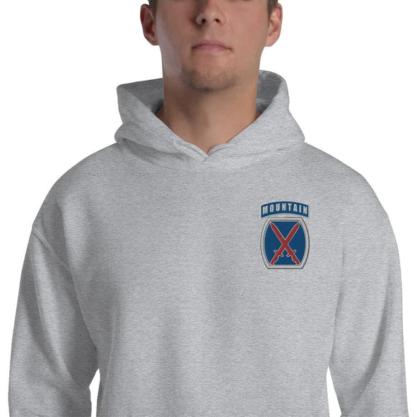 10th Mountain Division Embroidered Unisex Hoodie - Sport Grey / S