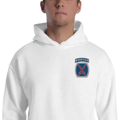 10th Mountain Division Embroidered Unisex Hoodie - White / S