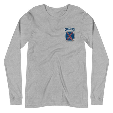 10th Mountain Division Embroidered Unisex Long Sleeve Tee - Athletic Heather / XS