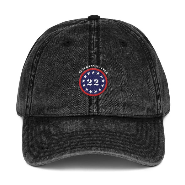 opszillastore,22 A Day Veterans Matter Embroidered Vintage Cotton Twill Cap,