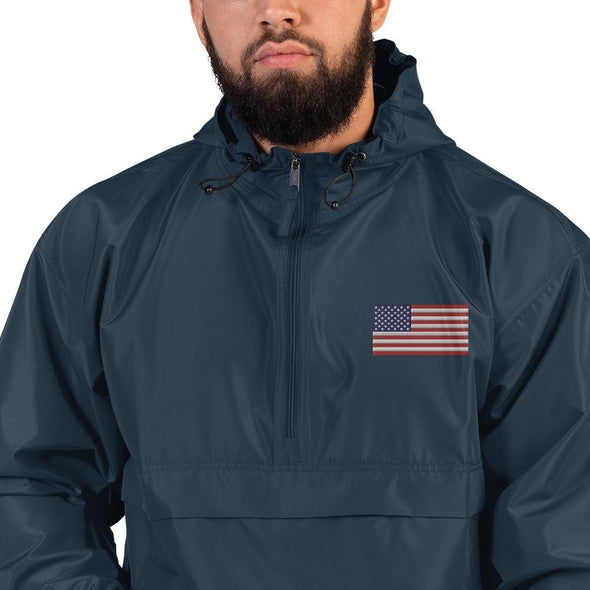opszillastore,American Flag Embroidered Champion Packable Jacket,