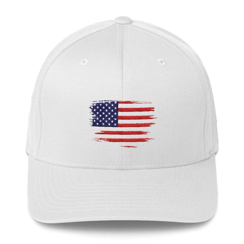 opszillastore,American Flag Embroidered Structured Twill Cap,