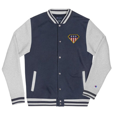 American Hero Embroidered Champion Bomber Jacket - Navy/ Oxford Grey / S