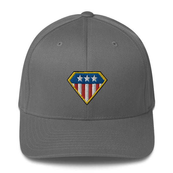 American Hero Embroidered Structured Twill Cap - Grey / S/M
