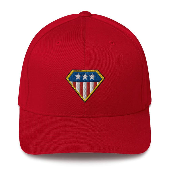 American Hero Embroidered Structured Twill Cap - Red / S/M
