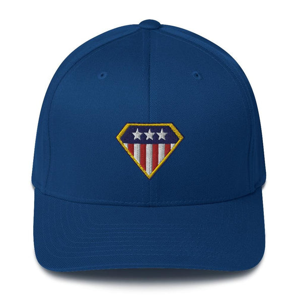 American Hero Embroidered Structured Twill Cap - Royal Blue / S/M