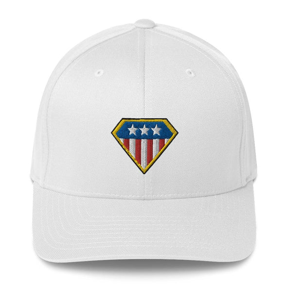 American Hero Embroidered Structured Twill Cap - White / S/M