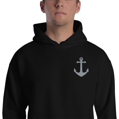 Anchor Embroidered Unisex Hoodie - Black / S