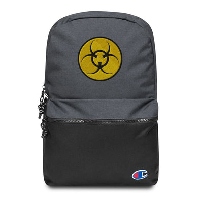 Bio Hazard Embroidered Champion Backpack - Heather Black / Black